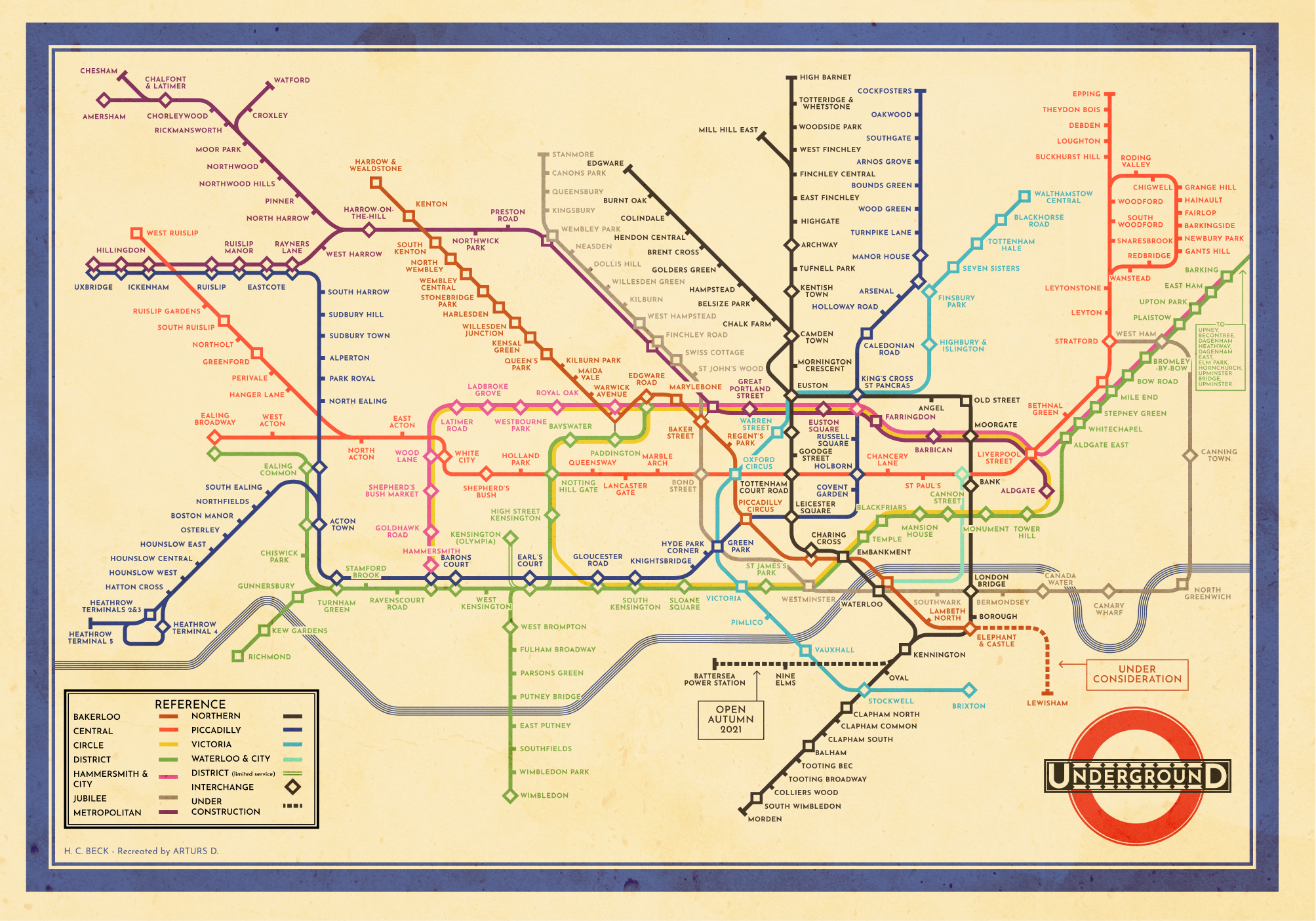 Harry Beck's original tube map recreated to portray the modern 2020 tube network